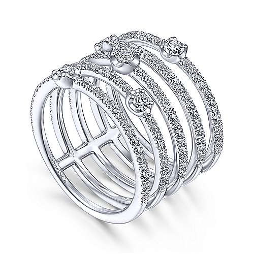 14K White Gold Five Row Diamond Station Wide Band