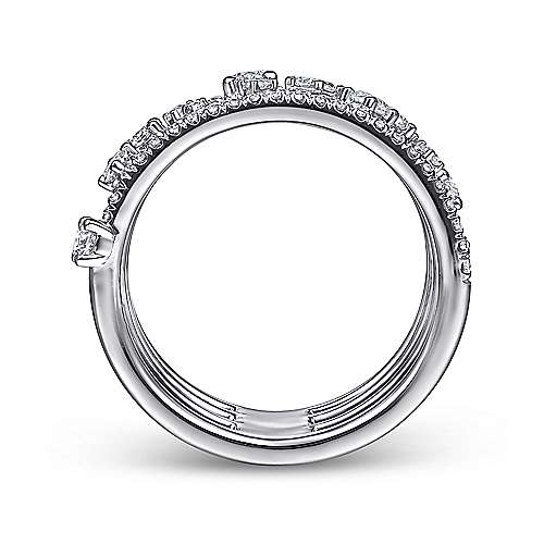 14K White Gold Five Row Pave Ring with Cluster Diamond Accent