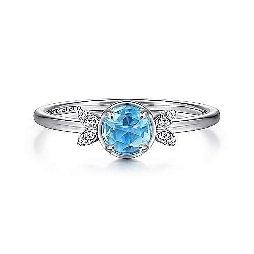 14K White Gold Floral Blue Topaz Diamond Ring