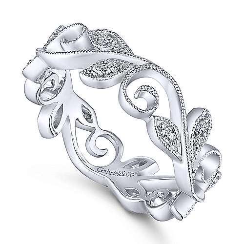 14K White Gold Floral Branch Diamond Eternity Ring