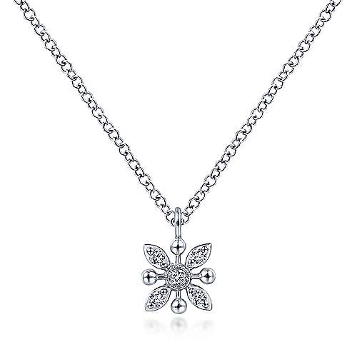 14K White Gold Floral Diamond Pendant Necklace with Bujukan Beads