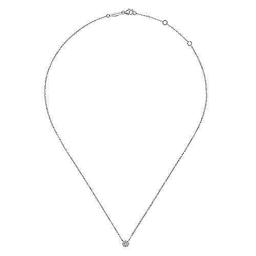 14K White Gold Floral Diamond Pendant Necklace