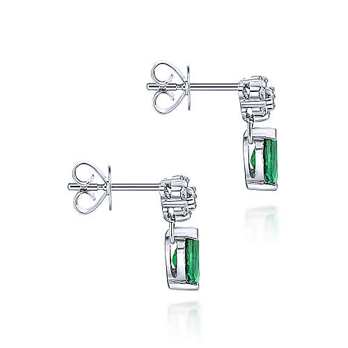 14K White Gold Floral Diamond Stud Earrings with Pear Shaped Emerald Drops