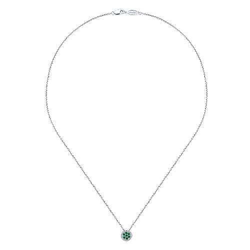 14K White Gold Floral Emerald and Diamond Halo Pendant Necklace