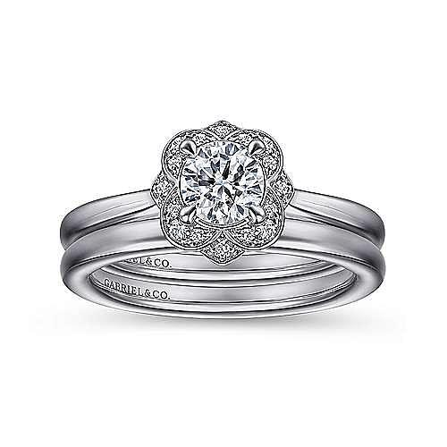 14K White Gold Floral Halo Round Diamond Engagement Ring