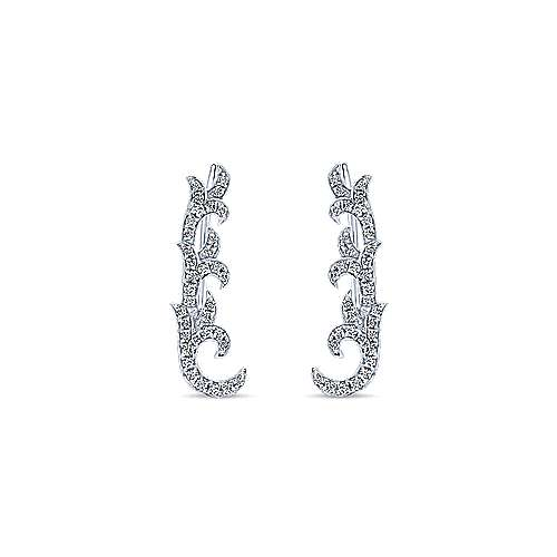 14K White Gold Floral Leaf Diamond Ear Climber Earrings