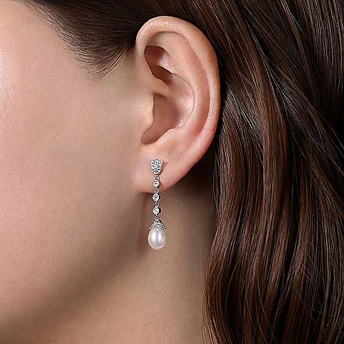 14K White Gold Floral Pearl Diamond Drop Earrings