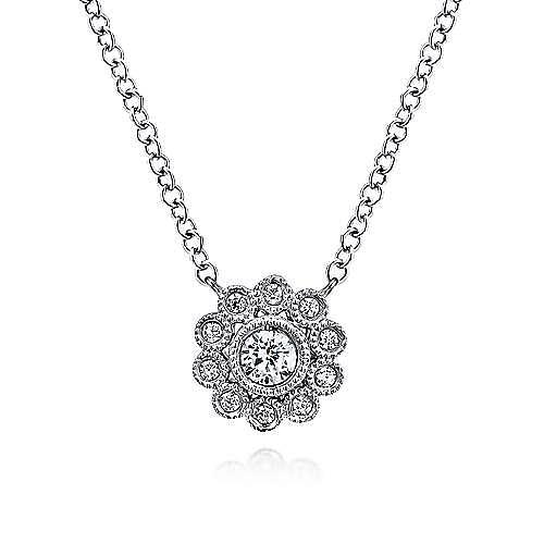 14K White Gold Floral Pendant Necklace