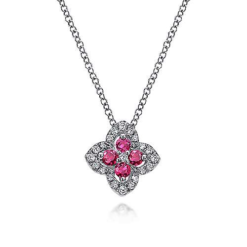 14K White Gold Floral Ruby and Diamond Pendant Necklace