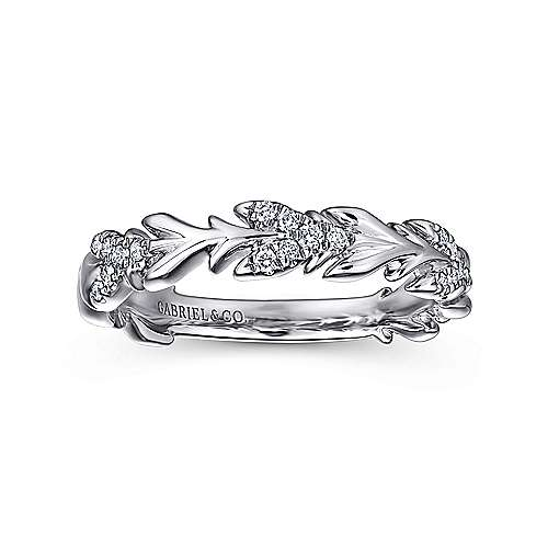 14K White Gold Floral Stackable Diamond Band