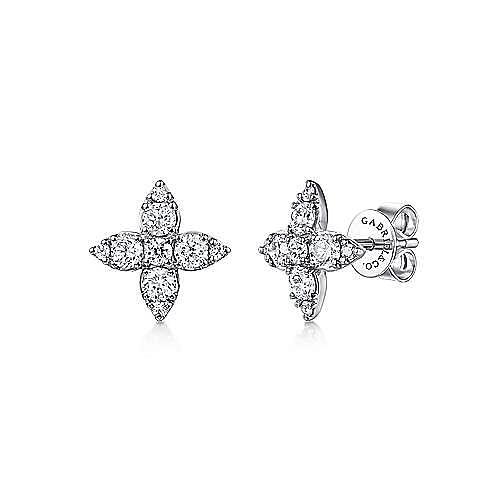 14K White Gold Flower Diamond Stud Earrings