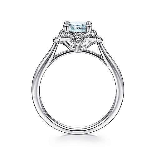 14K White Gold Flower Halo Aquamarine and Diamond Ring