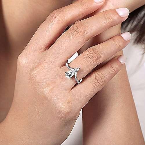 14K White Gold Free Form Pear Shape Diamond Engagement Ring