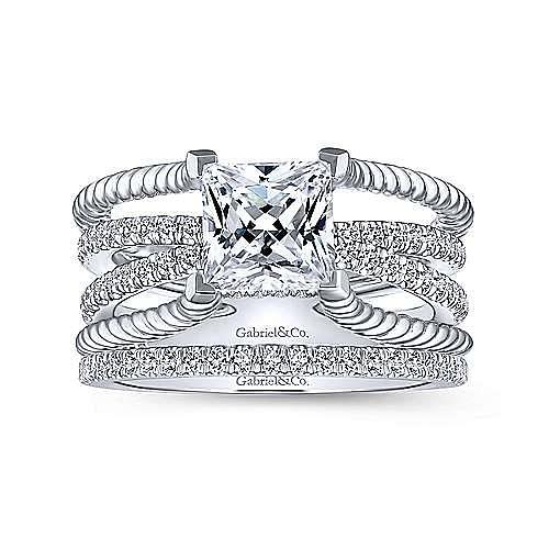 14K White Gold Free Form Princess Cut Diamond Engagement Ring
