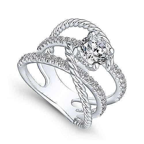 14K White Gold Free Form Round Diamond Engagement Ring