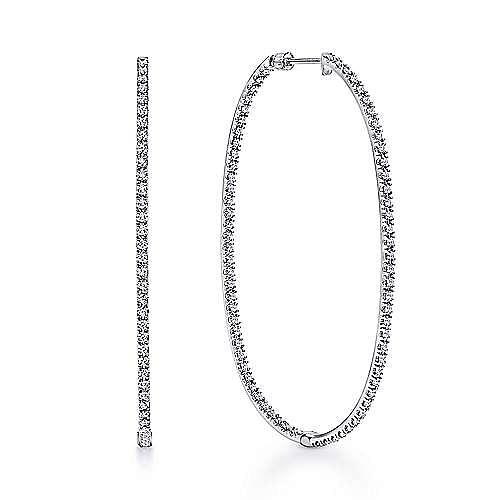 14K White Gold French Pavé  55mm Oval Inside Out Diamond Hoop Earrings