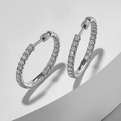 14K White Gold French Pavé 20mm Round Inside Out Diamond Hoop Earrings