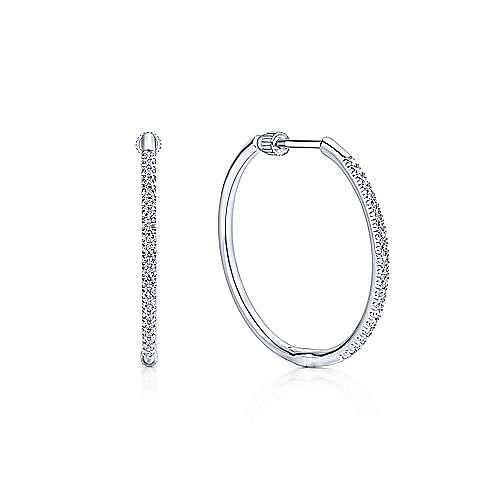 14K White Gold French Pavé 25mm Round Classic Diamond Hoop Earrings