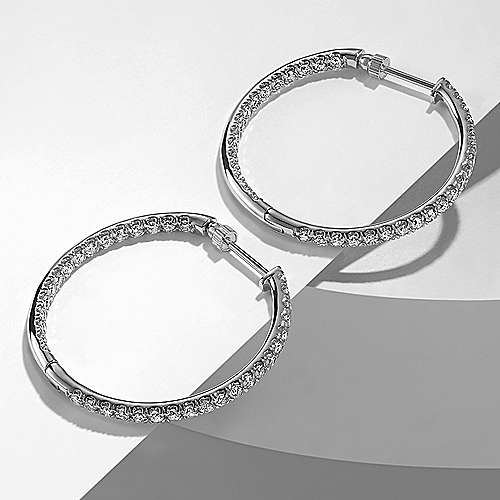 14K White Gold French Pavé 30mm Round Inside Out Diamond Hoop Earrings