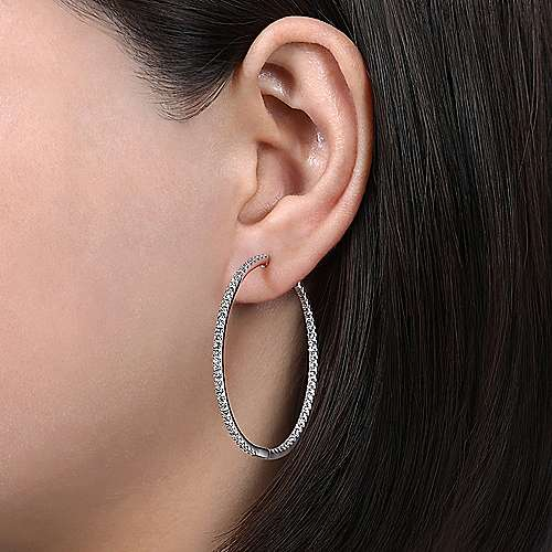 14K White Gold French Pavé 40mm Round Inside Out Diamond Hoop Earrings