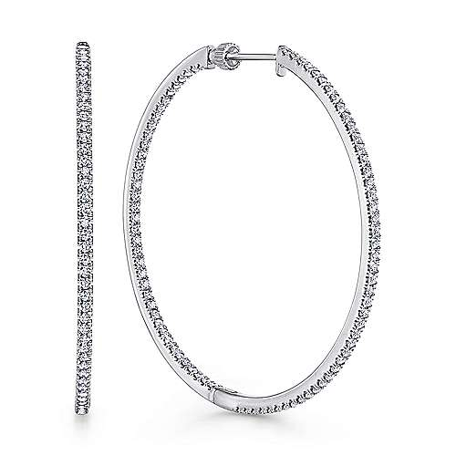 14K White Gold French Pavé 50mm Round Inside Out Diamond Hoop Earrings