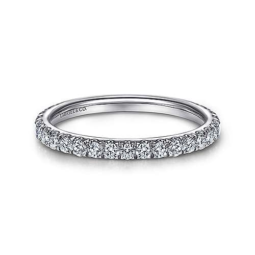 14K White Gold French Pavé Diamond Wedding Band