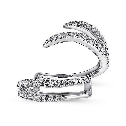14K White Gold French Pavé Set Diamond Ring Enhancer