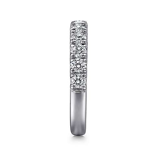 14K White Gold French Pavé Set Diamond Wedding Band