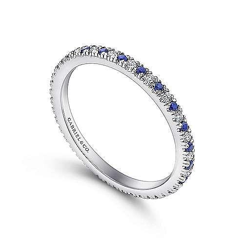 14K White Gold French Pavé Set Sapphire and Diamond Eternity Band