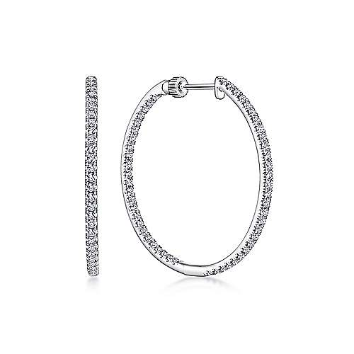 Gabriel - 14K White Gold French Pave  30mm Round Inside Out Diamond Hoop Earrings