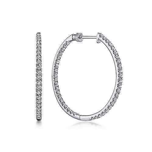 14K White Gold French Pave  30mm Round Inside Out Diamond Hoop Earrings