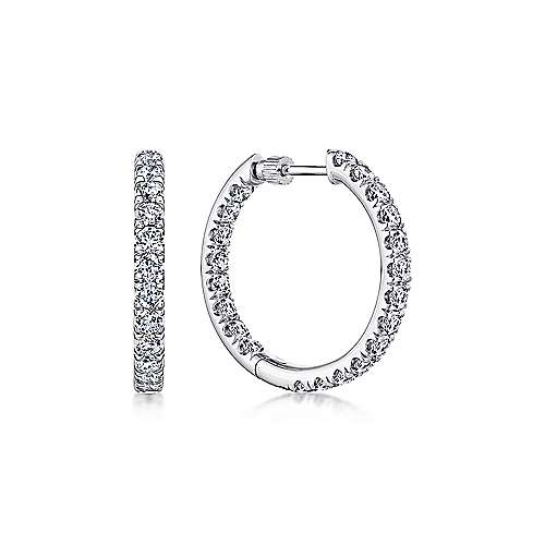 Gabriel - 14K White Gold French Pave (2.5ct.) 20mm Round Inside Out Diamond Hoop Earrings