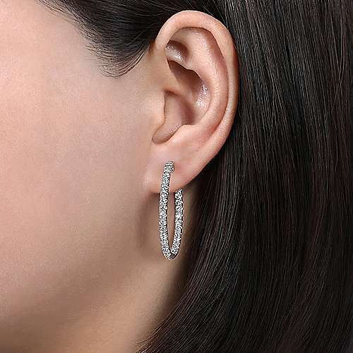 14K White Gold French Pave (3ct.) 30mm Round Inside Out Diamond Hoop Earrings