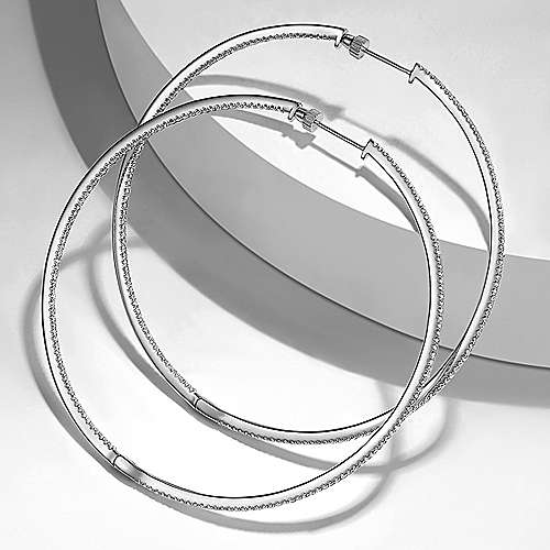 14K White Gold French Pave 70mm Round Inside Out Diamond Hoop Earrings