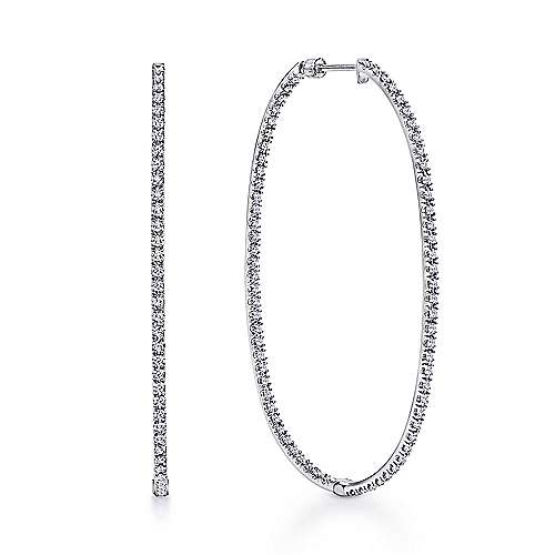 14K White Gold French pave  55mm Oval Inside Out Diamond Hoop Earrings