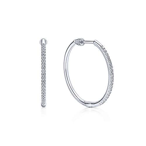 14K White Gold French pave 25mm Round Classic Diamond Hoop Earrings