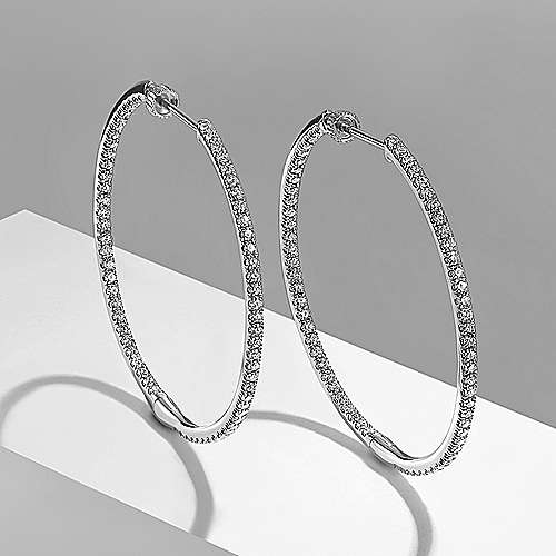 14K White Gold French pave 40mm Round Inside Out Diamond Hoop Earrings