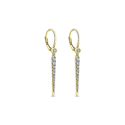 14K White Gold Front Back Tapered Diamond Drop Earrings