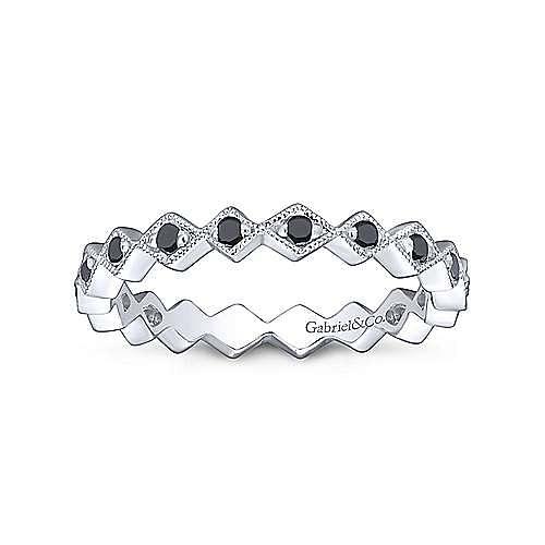 14K White Gold Geometric Black Diamond Stackable Ring