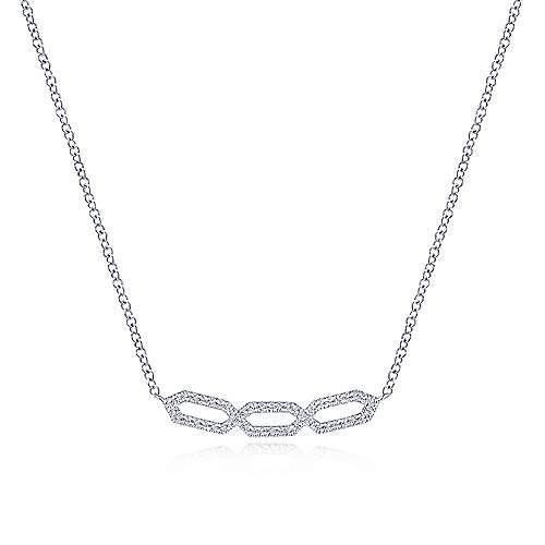 14K White Gold Geometric Diamond Bar Necklace