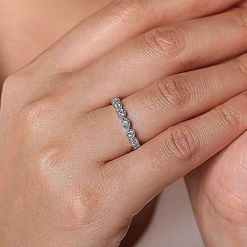 14K White Gold Geometric Diamond Stackable Ring