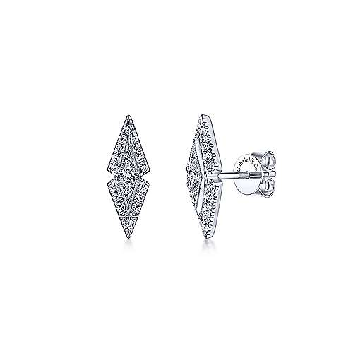 14K White Gold Geometric Diamond Stud Earrings