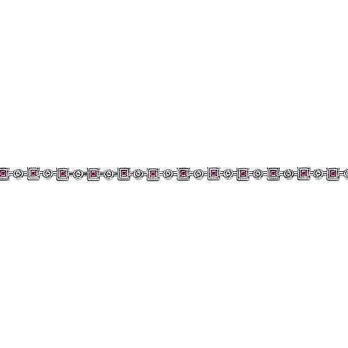 14K White Gold Geometric Diamond and Ruby Tennis Bracelet