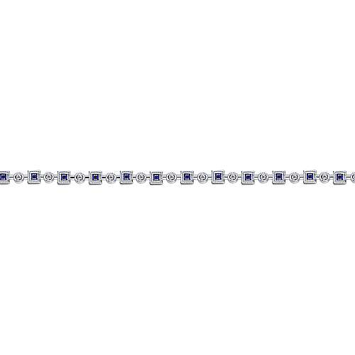 14K White Gold Geometric Diamond and Sapphire Tennis Bracelet