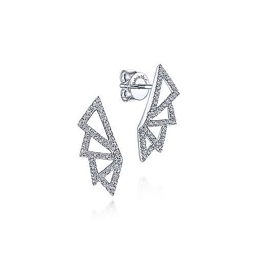 14K White Gold Geometric Fan Diamond Stud Earrings
