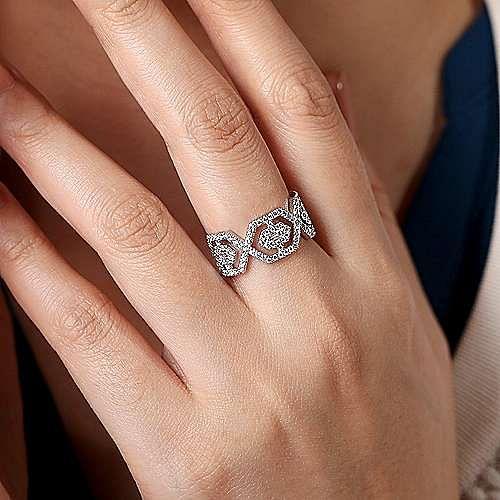 14K White Gold Geometric Open Diamond Ring