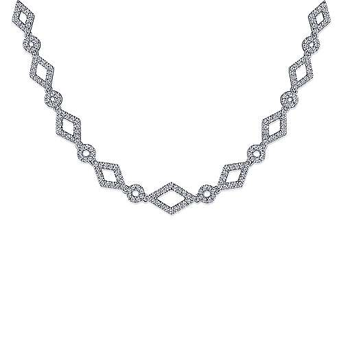 14K White Gold Geometric Pavé Diamond Link Necklace
