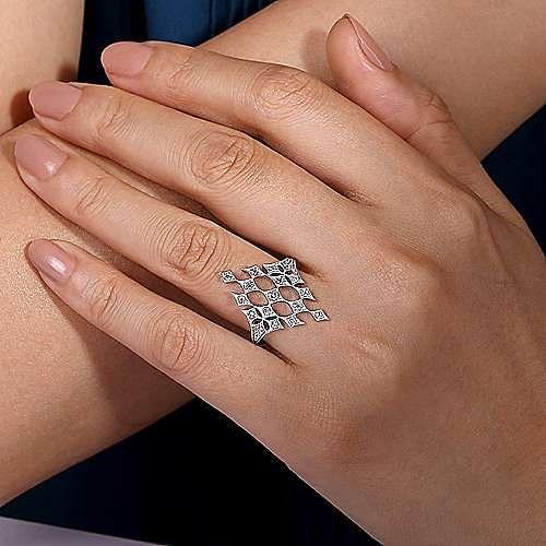 14K White Gold Geometric Rhombus Diamond Ring