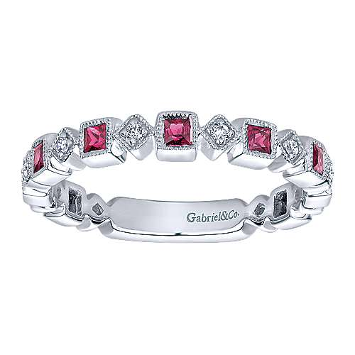 14K White Gold Geometric Ruby and Diamond Stackable Ring