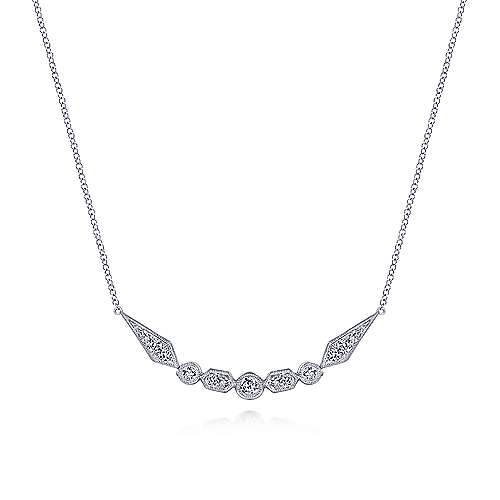 14K White Gold Geometric Shape Curved Bar Diamond Necklace